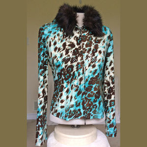 Joseph Ribkoff Faux Fur Animal Print Jacket 10